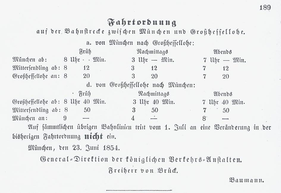 Fahrplan, gültig ab 24. Juni 1854